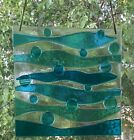 Stained Glass Abstract Turquiose Blue Ocean Waves Handmade Window Panel Suncatch