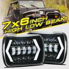 2PCS 7X6 5X7 300W LED Headlights Hi Lo Beam Sealed DRL For Jeep Wrangler YJ XJ