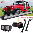 For Jeep Wrangler YJ 1987 1995 52 700W LED Light Bar + Mounting Brackets Set