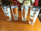 VINTAGE GOLD FROSTED BUTTERFLY LEAF THISTLE PATTERN HIGHBALL GLASSES (4)