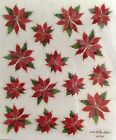 Christmas Glitter Poinsettia Flower Scrapbook Stickers