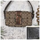 COACH Small Purse and Wallet Signature Logo Brown Faux Snakeskin Strap