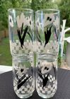 Black Flowers Design Water Glasses 1989.