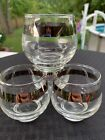 Vintage Libby Silver Band Footed Roly Poly Glasses Mid Century Modern Barware