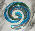 Blue  Green With Silver Gold Stardust Round Lampwork Glass Pendant 49x46MM DIY