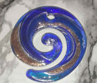 Light  Dark Blue With Silver Gold Stardust Round Lampwork Glass Pendant 49x46MM