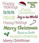 Merry Christmas Peace Happy Holidays Glittered Phrase Word Scrapbook Stickers