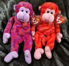 Twirly & Twisty Twizzlers Beanie Babies Baby SET (2) Monkey w/ Mint Tags