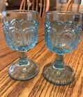 Pair Vintage LE Smith Moon and Stars Pattern Glass ElectrIc Blue Goblet 2 oz