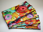 Gorgeous Bright Bold Abstract Floral Large Cloth Dinner Napkins Set of 4