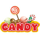 Candy Concession Decal Sign Cart Trailer Stand Sticker Equipment