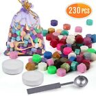 230pc Octagon Sealing Wax Beads Candles Spoon for Wax Seal Stamp Invitation Card