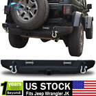 For 2007 2017 Jeep Wrangler Textured Rear Bumper W 2 LED lamp Hitch Receiver