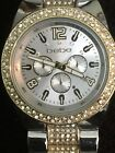 BeBe Ladies Watch 38 Mm Case Silvertone Crystal Band/bezel Chronograph Looks