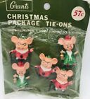 Vintage Christmas Package Tie Ons 5 Holiday Mice Grants Dept Store