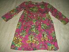 Hanna Andersson Bright Pink L S Multi colored Mod Floral Dress Size 110 4 6Y