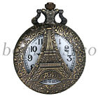 Men's Antique Arabic Numerals Eiffel Tower Pattern Pocket Watch Sweater Chain
