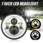 Chrome 7 inch Round LED Headlight Halo Hi-lo fit for Harley Davidson Motorcycle