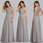 Ever-Pretty US Grey Long Lace Bridesmaid Wedding Dress Evening Party Gowns 07391