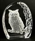 WEDGWOOD CRYSTAL GLASS OWL PAPERWEIGHT c1990s