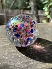 Vintage Glass Eye Studio Iridescent Sided Paperweight