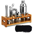 23Pcs Bartender Kit Cocktail Shaker Set Stainless Steel Bar Tools w Bamboo Stand
