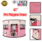 45 Pet Dog Kennel Pet Fence Puppy Playpen Exercise Pen Folding Crate Pink