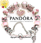 Authentic Pandora Charm Bracelet Silver Bangle Clasp with Pink European Charms