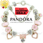 Pandora Charm Bracelet Silver Pink Silver Engraved Heart with European Charms
