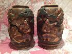 Fine Pair Of Japanese Meiji Satsuma Moriage IMMORTAL Vases Relief Decorated 10
