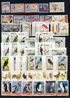 Bird on stamp collection with flamingoschickens Penguins imperfs on one page