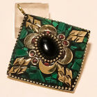 BLACK ONYX MALACHITE  RED CORAL GOLD PLATED PENDANT 24