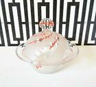 Vintage Glass Covered Candy Dish Hand Painted Red