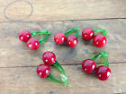 Vintage Lot of 5 Murano Glass Cherry Ornaments WH 10