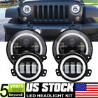 7 60W LED Halo Ring Headlight  Fog Lights Combo For 2007 17 Jeep Wrangler JK