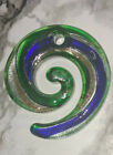 Green  Blue With Silver Gold Stardust Round Lampwork Glass Pendant 49x46MM DIY