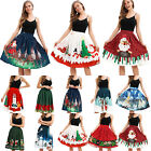 Women Christmas Santa Print A-Line Mini Skirt Ladies Xmas Party High Waist Dress