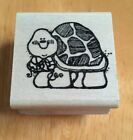 Hooks Lines  Inkers Turtle Wood Mounted Rubber Stamp