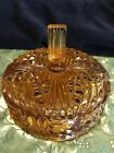 Vintage Amber Indiana Cut Glass 3 Section Candy Dish, High Finial Lid