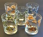 5 Vintage Stained Glass Lamp Light Glass Tumblers 1970s MCM Kitsch Kitchen Retro