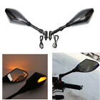 CARBON SUPER BRIGHT LED TURN SIGNAL REARVIEW MIRRORS 8MM 10MM METRIC MOTORCYCLE