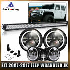 Roof 52700W LED Light Bar+7 LED Headlight+4Fog Lamp Fit Jeep Wrangler JK US