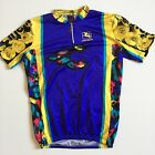 Vtg Giordana Italy Cinelli Mens L Large Blue Yellow 1 4 Zip Cycling Jersey