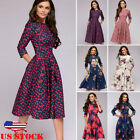 Ladies Retro Vintage 3 4 Long Sleeve Floral Womens Party Cocktail Maxi Dress USA