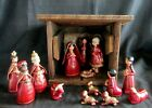 Unusual Burgundy  Gold Vtg 15 Pc Mexican Pottery Nativity Manger W Wood Stable