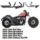 Fit for Harley Softail 2012 2013 Blackline Black2 Dual Pipes Muffler Exhaust
