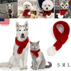 Christmas Knitted Dog Scarf Winter Red Cats Dog Scarfs for Small Large Dogs Cats