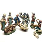 Vintage Japan Chalkware Composite Large Scale 11 Piece Nativity Figure Set