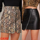 Women's Black  Imitation Leather High Waist Tight Zip Stretch Mini skirt Dress