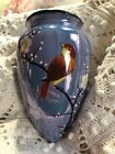 Vintage Hand Painted Blue LusterWare Wall Pocket Bird Flowers Winter Japan